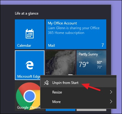 Windows 10 remove tiles from start menu desktop for all users