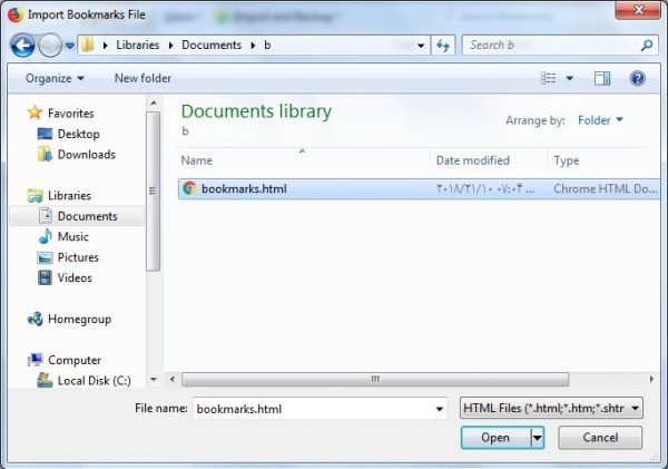 Import bookmarks firefox json html, how to