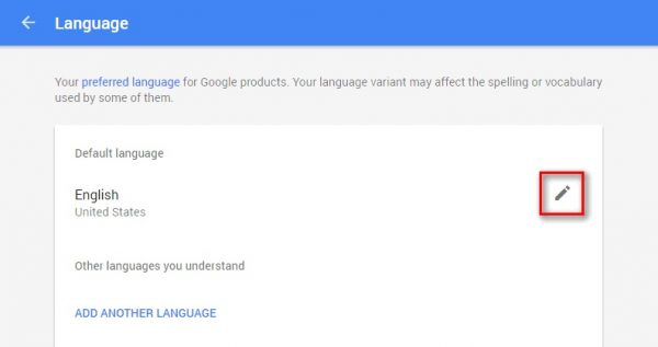 How to change language in google search, account, play store