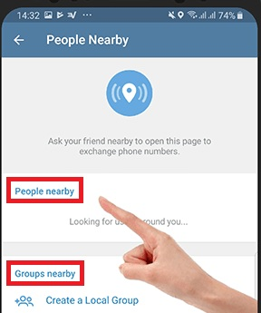 Telegram nearby chat and group, find add people, how to